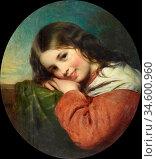 Baxter Charles - Laughhing Eyes - British School - 19th Century. Стоковое фото, фотограф Artepics / age Fotostock / Фотобанк Лори