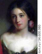 Baxter Charles - Rose (Portrait Study) - British School - 19th Century... Стоковое фото, фотограф Artepics / age Fotostock / Фотобанк Лори