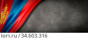 Mongolia flag on concrete wall. Horizontal panoramic banner. 3D illustration. Стоковое фото, фотограф Zoonar.com/Laurent Davoust / age Fotostock / Фотобанк Лори