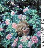 Bramley Frank - Among the Roses - British School - 19th Century. Стоковое фото, фотограф Artepics / age Fotostock / Фотобанк Лори