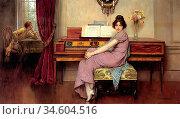 Breakspeare William Arthur - the Reluctant Pianist - British School... Стоковое фото, фотограф Artepics / age Fotostock / Фотобанк Лори