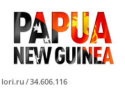 Papua New Guinea flag text font. National symbol background. Стоковое фото, фотограф Zoonar.com/Laurent Davoust / age Fotostock / Фотобанк Лори