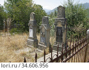 Graves from the soviet period at Gandzasar monastery in Nagorno Karabakh... Стоковое фото, фотограф Andre Maslennikov / age Fotostock / Фотобанк Лори