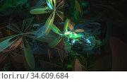 Abstract multi-colored fractal floral background on dark. Стоковая иллюстрация, иллюстратор Alexander Tihonovs / Фотобанк Лори