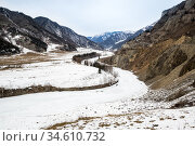 View of river Chuya and Altay mountains. Стоковое фото, фотограф Юлия Белоусова / Фотобанк Лори