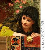 Thumann Paul - Bildnis Einer Jungen Frau - German School - 19th Century... Редакционное фото, фотограф Artepics / age Fotostock / Фотобанк Лори