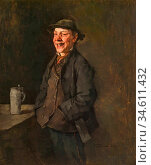 Trubner Wilhelm - Laughing Farmer Chap - German School - 19th Century. Редакционное фото, фотограф Artepics / age Fotostock / Фотобанк Лори