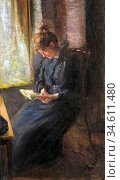 Uhde Fritz Von - Lesende Frau - German School - 19th Century. Редакционное фото, фотограф Artepics / age Fotostock / Фотобанк Лори