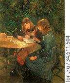 Uhde Fritz Von - Zwei Mädchen IM Garten - German School - 19th Century... Редакционное фото, фотограф Artepics / age Fotostock / Фотобанк Лори