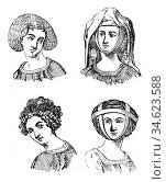 Hairstyles Women, 1315-1320, vintage engraved illustration. Colorful... Стоковое фото, фотограф Zoonar.com/Patrick Guenette / easy Fotostock / Фотобанк Лори