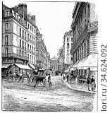 Carrefour and rue de l'Odeon, vintage engraved illustration. Paris... Стоковое фото, фотограф Zoonar.com/Patrick Guenette / easy Fotostock / Фотобанк Лори