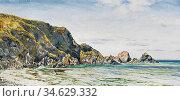 Brett John - a Rocky Coast - British School - 19th Century. Стоковое фото, фотограф Artepics / age Fotostock / Фотобанк Лори