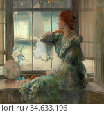 Burns Robert - the Window Seat - British School - 19th Century. Стоковое фото, фотограф Artepics / age Fotostock / Фотобанк Лори