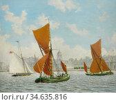 Carrick John Mulcaster - off Greenwich - British School - 19th Century... Стоковое фото, фотограф Artepics / age Fotostock / Фотобанк Лори