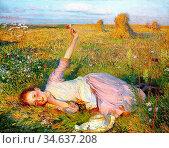 Clausen George - Evening Song - British School - 19th Century. Стоковое фото, фотограф Artepics / age Fotostock / Фотобанк Лори
