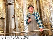 Winzer mit einem Glas Rotwein vor einem Gärtank aus Edelstahl in ... Стоковое фото, фотограф Zoonar.com/Robert Kneschke / age Fotostock / Фотобанк Лори