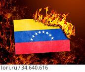 Flag burning - concept of war or crisis - Venezuela. Стоковое фото, фотограф Zoonar.com/Micha Klootwijk / age Fotostock / Фотобанк Лори