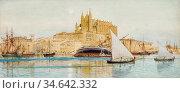 Ellis Tristram James - the Harbour and Cathedral at Palma Mallorca... Стоковое фото, фотограф Artepics / age Fotostock / Фотобанк Лори