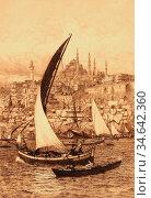 Ellis Tristram James - Seascape 2 - British School - 19th Century. Стоковое фото, фотограф Artepics / age Fotostock / Фотобанк Лори