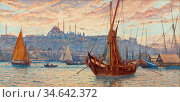 Ellis Tristram James - the Golden Horn - British School - 19th Century... Стоковое фото, фотограф Artepics / age Fotostock / Фотобанк Лори