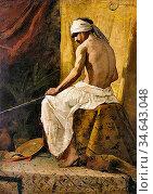 Constant Benjamin - Arabe Assis - French School - 19th Century. Стоковое фото, фотограф Artepics / age Fotostock / Фотобанк Лори