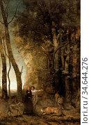 Corot Jean Baptiste Camille - Dante and Virgil - French School - ... Стоковое фото, фотограф Artepics / age Fotostock / Фотобанк Лори