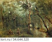 Corot Jean Baptiste Camille - Das Grüne Ufer - French School - 19th... Стоковое фото, фотограф Artepics / age Fotostock / Фотобанк Лори