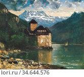 Courbet Gustave - Chateau De Chillon 2 - French School - 19th Century. Стоковое фото, фотограф Artepics / age Fotostock / Фотобанк Лори