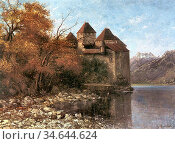 Courbet Gustave - Chateau De Chillon 3 - French School - 19th Century. Стоковое фото, фотограф Artepics / age Fotostock / Фотобанк Лори