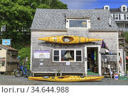 Kayak and bile rental small business shop, Castiine, Maine, New England... Стоковое фото, фотограф Jumping Rocks Inc / age Fotostock / Фотобанк Лори