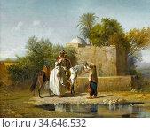 Decamps Alexandre Gabriel - Bedouins at an Oasis - French School - ... Стоковое фото, фотограф Artepics / age Fotostock / Фотобанк Лори