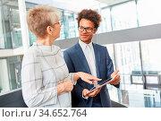 Business Chefin und Trainee besprechen Website Entwicklung am Tablet... Стоковое фото, фотограф Zoonar.com/Robert Kneschke / age Fotostock / Фотобанк Лори