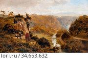 Gallon Robert - Landscape with Figures - British School - 19th Century... Стоковое фото, фотограф Artepics / age Fotostock / Фотобанк Лори
