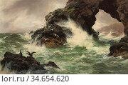 Graham Peter - Sea Worn Rocks - British School - 19th Century. Стоковое фото, фотограф Artepics / age Fotostock / Фотобанк Лори