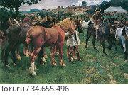 Munnings Alfred James - Suffolk Horse Fair in Lavenham - British ... Редакционное фото, фотограф Artepics / age Fotostock / Фотобанк Лори