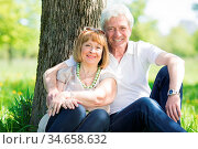 Happy senior couple in the park in summer day sitting under tree. Стоковое фото, фотограф Zoonar.com/Ivan Mikhaylov / easy Fotostock / Фотобанк Лори