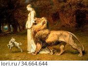 Rivière Briton - Una and the Lion - British School - 19th Century. Редакционное фото, фотограф Artepics / age Fotostock / Фотобанк Лори