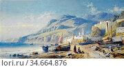 Rowbotham Charles Edmund - on the Coast near Geneva - British School... Редакционное фото, фотограф Artepics / age Fotostock / Фотобанк Лори