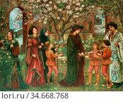 Stillman Marie Spartali - the Enchanted Garden of Messer Ansaldo - ... Редакционное фото, фотограф Artepics / age Fotostock / Фотобанк Лори