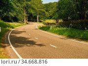 Leere Straße mit S-Kurve im Sommer durch grüne Natur. Стоковое фото, фотограф Zoonar.com/Robert Kneschke / age Fotostock / Фотобанк Лори