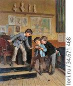 Duverger Theophile Emmanuel - a Practical Joke - French School - ... Редакционное фото, фотограф Artepics / age Fotostock / Фотобанк Лори