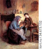 Frere Pierre Edouard - Worn Through - French School - 19th Century. Редакционное фото, фотограф Artepics / age Fotostock / Фотобанк Лори