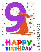 Cartoon Illustration of the Ninth Birthday Anniversary Greeting Card... Стоковое фото, фотограф Zoonar.com/Igor Zakowski / easy Fotostock / Фотобанк Лори