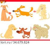 Cartoon Illustration of Funny Dogs or Puppies Pet Animal Characters... Стоковое фото, фотограф Zoonar.com/Igor Zakowski / easy Fotostock / Фотобанк Лори