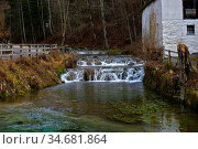Wasserfaelle, Stromschnellen, Schwaebische Alb, bei Hayingen nahe... Стоковое фото, фотограф Zoonar.com/Jürgen Vogt / easy Fotostock / Фотобанк Лори