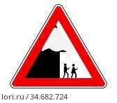 Verkehrsschild Achtung Dachlawine - Traffic sign warning roof avalanche... Стоковое фото, фотограф Zoonar.com/lantapix / easy Fotostock / Фотобанк Лори