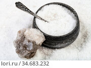 Old silver salt cellar with spoon, raw natural Halite mineral and... Стоковое фото, фотограф Zoonar.com/Valery Voennyy / easy Fotostock / Фотобанк Лори