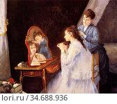 Gonzales Eva - Le Petit Lever - French School - 19th Century. Стоковое фото, фотограф Artepics / age Fotostock / Фотобанк Лори