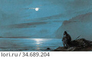 Gudin Jean Antoine Théodore - Moonlit Scene on the Isle of Mull with... Стоковое фото, фотограф Artepics / age Fotostock / Фотобанк Лори
