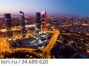 Night view of Four Towers, Madrid. Стоковое фото, фотограф Яков Филимонов / Фотобанк Лори